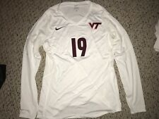 Nike Virginia Tech Hokies #19 Volleyball White Game Worn Jersey *M*