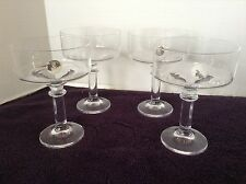 Sophienthal Cristallin Crystal Set of 4 Champagne Tall Sherbet Glasses Germany