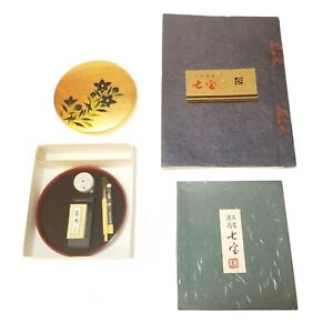 Vntg Shitipo Japanese Calligraphy Tool Set & Book Stone Stick Brush Water Droppr