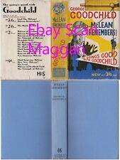 George Goodchild  McLEAN REMEMBERS  1st w/ ORIGINAL dj 1940 Hodder Stoughton