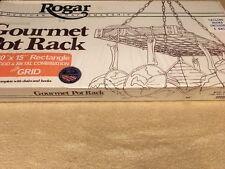 """NIB Vintage Rogar Wood And Metal 30"""" X 15"""" Knocked Down Gourmet Pot Rack"""