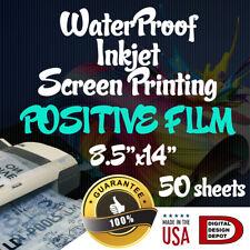 "WATERPROOF Inkjet Transparency Film for Screen Printing 8.5""x14"" 50 sheets"