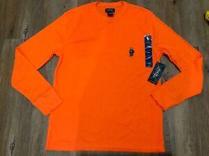 New Polo Ralph Lauren Men's Lg Bear Waffle Knit Thermal Shirt Orange Long Sleeve