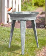 VINTAGE GALVANIZED METAL BIRD BATH AND STAND by PANACEA
