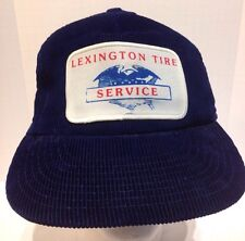 Vintage Corduroy Lexington Tire Service Snapback Adjustable Blue Cap Hat