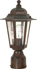 """Nuvo Cornerstone 1 Light 14"""" Post Lantern with Clear Seed Glass"""