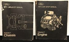 1973 FORD Car Shop Manual Repair Service Volume 1 CHASSIS & 2 ENGINE 1st Print