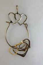 VINTAGE 14K SOLID YELLOW GOLD HEART CHARM PENDANT WITH 4 14K CHARMS