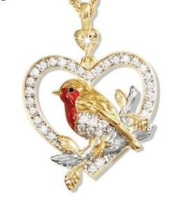 ROBIN BIRD red crystal gold NECKLACE mothers day birthday gift