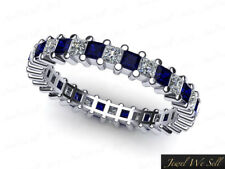1.90Ct Princess Cut Sapphire Diamond Shared Eternity Band Ring Platinum AAA G SI
