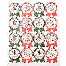 lot de 16 etiquettes stickers joyeux noel merry christmas rouge vert neuf