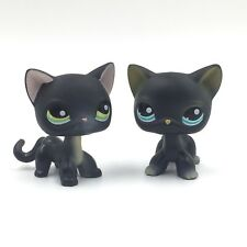 2 PCS Littlest Pet Shop Cat LPS #336 #994 Black Siamese Cat Short Hair Eyes RARE
