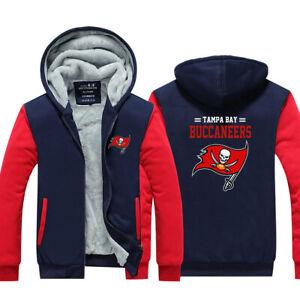 Tampa Bay Buccaneers Men Hoodie Fleece Zip Up Coat Winter Jacket Warm Sweatshirt