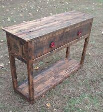 Sofa Console Table with Cabinet - Reclaimed Pallet Wood - Vintage Rustic Look