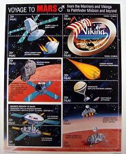 PALAU SPACE STAMPS SHEET VOYAGE TO MARS VIKING MARS LANDER SPACECRAFT MARINER 9