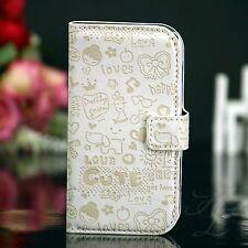 Samsung Galaxy S Duos S7562 Flip Tasche Case Schutz Hülle Klapp Etui Comic Weiß