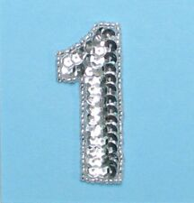 SEQUIN BEADED NUMBER ONE APPLIQUE 2313-F