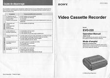Instruction Operating User MANUAL for SONY EVO-220 Hi8 Video8 8mm Video 8 VCR