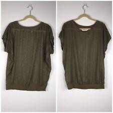 Zara Collection Olive Green Semi Sheer Mesh Ribbon Blouse Top Size M Sleeveless