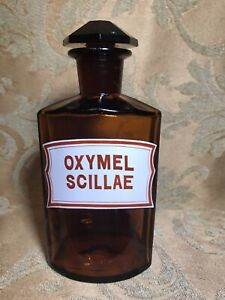 "6.5"" Antique AMBER GLASS APOTHECARY BOTTLE JAR ENAMEL LABEL: ""OXYMEL SCILLAE"""