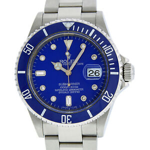 Rolex Mens Stainless Steel Oyster Submariner Watch with Blue Diamond Dial 16610