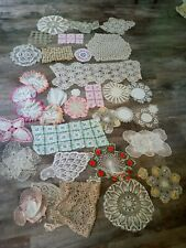 36 Piece Vintage Doilies Lot / Crocheted Embroidered Runners Lace Linen