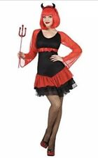 Deluxe Vampire Costume Dress & Horns Red Black XS-S Womens Fancy Dress Halloween
