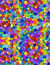 Fabric Carnivale Geo Dots Neon on Black Timeless Treasures Cotton 1/4 yard 7076