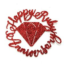 Happy Ruby Anniversary Cupcake Toppers Glitter Red Free Delivery