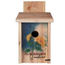 New ListingDecorative Sunflower Design Cedar Blue Bird House