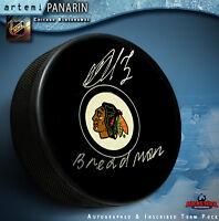 "Artemi Panarin Autographed Chicago Black Hawks Puck    ""BREADMAN"""