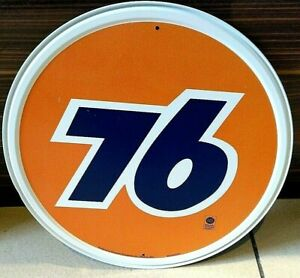 """UNION 76 BRAND OIL/ PETROL, ROUND 12"""" METAL WALL SIGN/ PETROL, GAS, DINER"""
