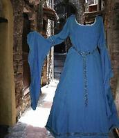 Costume Gown Medieval Renaissance Fantasy SCA Garb Cadet Blue Cotton LOTR L XL
