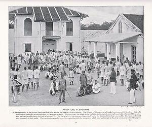 1897 VICTORIAN PRINT ~  COURTYARD OF SINGAPORE PRISON ~ PLUS DESCRIPTIVE TEXT