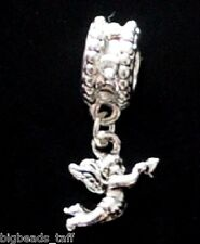 An alloy angel rhinestone dangle metal bead fit European style charm chains