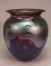 """Vintage 5""""  LOTTON  IRIDESCENT  PURPLE / BLUE / GREEN  ART GLASS VASE   1974"""