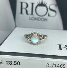 925 Sterling Silver Brilliant Round Moonstone Gemstone Ring RRP £28.5 Gift Boxed