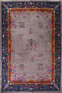 Antique Art Deco Nichols Floral Chinese Area Rug Vegetable Dye Hand-knotted 9x12