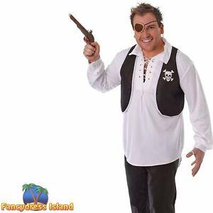SKULL & CROSSBONES BLACK PIRATE WAISTCOAT - mens fancy dress accessory
