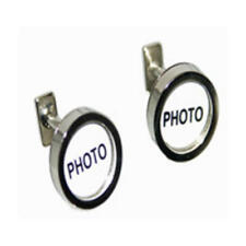 Silver Round Photo Holder Cufflinks With Gift Pouch Formal Fun Quirky Present
