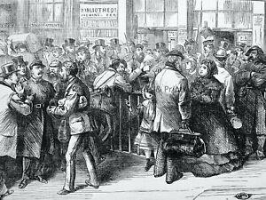 1871 Print CIVIL WAR IN PARIS - NORTHERN RAILWAY STATION Franco Prussian War