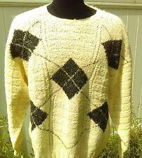 Gaeltarra Handknit  Men's Irish Pure New Wool Sweater 42 Inch 107 cm Diamonds