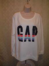 Long Sleeve Crewneck Sweatshirts GAP White Multi color Logo 2XL,XL,LG,NWT