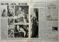 """SUE LYON """"Lolita"""" in Spain => 2 pages 1972 SPANISH CLIPPING !!!"""