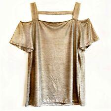 INC International Concepts Cold Shoulder Top Gold Metallic Back Cut Out M