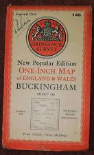 "ORDNANCE SURVEY NEW POPULAR EDITION 1"" LINEN BACKED MAP OF BUCKINGHAM - 1946"