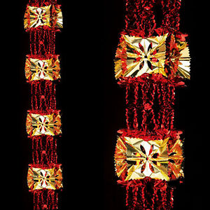 Christmas Foil Ceiling Decoration 33cm 8 Section Full Garland - Red / Gold