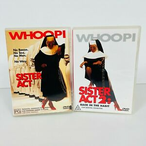 Sister Act 1 & 2: Back In The Habit DVD Whoopi Goldberg Region 4 Free Postage