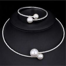 Simulated Pearl Bridal Jewelry Sets Crystal Fashion Wedding Necklace Bracelet CN
