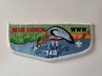 Boy Scout OA 349 Blue Heron Lodge White Border Flap